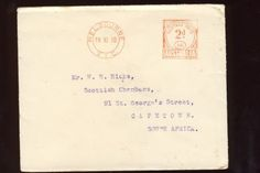 Postal cover from Melbourne Australia to Cape Town South Africa 19 November 1930 with postal franking