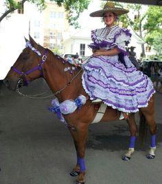 Escaramuza Rosas De Castilla (San Antonio) preparing for the Battle of Flowers Parade 2012 -  photo of Janelle Hernandez
