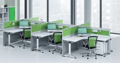 Office, Green White Color Scheme And Modern Office Furniture With Perfect Setting Make This Stylish Office Looks Elegant: Inspiration Design Ideas for Office Interior Setting and Decorations