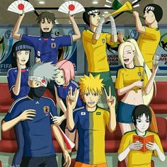 Naruto at the World Cup by iurypadilha on DeviantArt Anime Naruto, Naruto And Sasuke Funny, Naruto Shippuden Sasuke, Naruto Sasuke Sakura, Naruto Art, Sakura Haruno, Boruto, Shikatema, Gaara