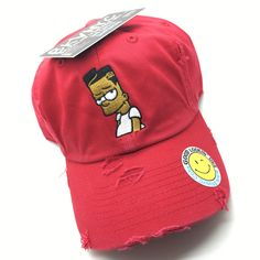 Red Distressed Black-Bart Dad Cap Hat e4680e3f3e07