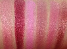 Milani Spring 2014 Color Statement Lipstick Swatches from the left: Sugar Glaze, Cabaret Blend, Pink Blend, Rose Femme, Pretty Natural and C...
