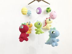 Baby mobile Crochet Baby Dinosaur and Egg Crib mobile