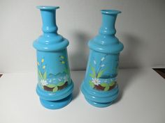 Antique Bristol Vase hand painted Blue glass by GingersLittleGems