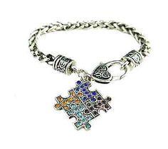 Autism Puzzle Charm Bracelet Heart Shape Clasp Autism Puzzle Piece Silver Plated