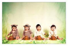 The final photo.... 4 cute teddy bears eating their honey pots. :) #tararubyphotography #elpaso #elpasophotographer #fortbliss #fortblissphotographer #savannah #savannahphotographer #child #childphotography #cakesmash
