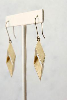 1b69e0ec Brass Diamond Dangles | Rhombus Earrings | Minimal Geometric Statement  Jewelry