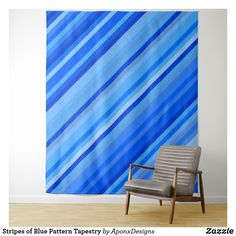 Stripes of Blue Pattern Tapestry - blue gifts style giftidea diy cyo Blue Tapestry, Tapestry Bedroom, Wall Tapestry, Fashion Lighting, Your Perfect, New Room, Rug Making, Tapestries, Stripes
