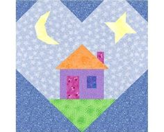 The Heart and Home block paper piecing quilt pattern has easy directions and marked paper piecing patterns to create a 6 inch heart House Quilt Patterns, House Quilt Block, Heart Quilt Pattern, House Quilts, Paper Piecing Patterns, Quilt Patterns Free, Quilt Blocks, Straight Line Quilting, Strip