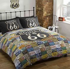 Rapport Route 66 Number Plate Classic Car Reversible Stars Duvet Set