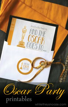 Oscar Party Printables via While They Snooze >> DIY, Entertaining at Home, Movies, FREE Printables