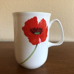 Rose of England Cylinder Mug Iceland Red Poppy Floral Pattern 10oz New with Tag  #RoseofEngland