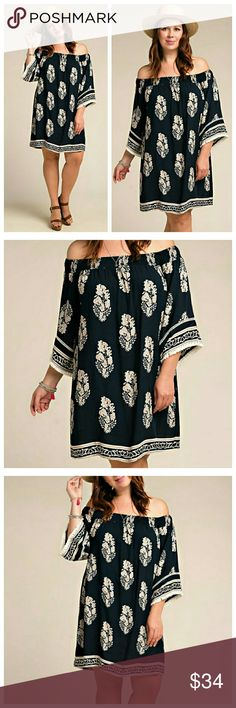 XL, 1X Navy Tunic Dress With Mocha Trim Navy off-shoulder tunic dress with mocha design and trim. Neck and shoulders are elastic, sleeves are a cropped bell. Lightweight fabric. EVIEcarche Dresses