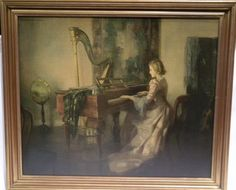 Victorian Music Room with women piano and harp | Reofect Painting by Marguerite Pearson, Music Room
