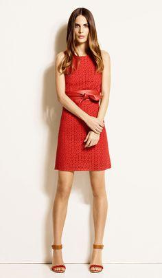 1.2.3 Paris - Collection printemps-été 2013 - Robe Natalia 99€ Chaussures Elsa 129€ Ceinture Odile 59€ #broderies #guipure #lace #camel #cuir #leather #rouge #red #camel #printemps #été #spring #summer #mode #fashion #123paris #123 #dress #chic #elegance
