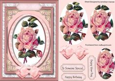 Lovely Pink roses in a oval fram Pyramid on Craftsuprint - Add To Basket!