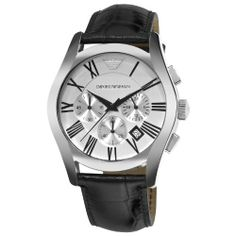 Emporio Armani Men's AR0669 Chronograph Silver Dial Black Leather Watch, http://www.amazon.com/dp/B002EVPG0C/ref=cm_sw_r_pi_awd_1Lrksb1FGBT85