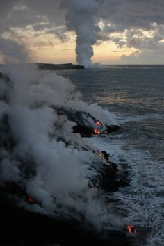 lava hitting the water