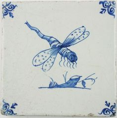 Antique Dutch Delft tile in blue with a dragonfly, 17th century