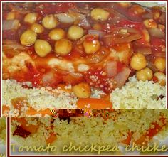 Chicken breasts in a tomato and chickpea sauce on vegetable couscous - Cooksister