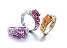 gimel Ring:Sapphire, Diamond Spinel, Diamond, Yellow gold, Mandarin Garnet, Diamond