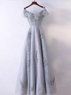 A-line V-neck Floor-length Short Tulle Prom Dress/Evening Dress # VB941