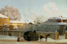 Magnus von Wright (1805-1868) Annankatu kylmänä talviaamuna / Annankatu on a Cold Winter Morning 1868 - Finland - Helsinki - Finnish horse