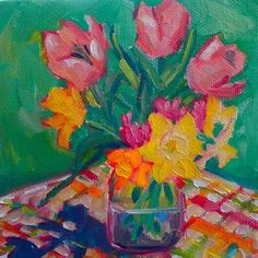 A Bouquet of Spring 5x5 oil on canvas $75, painting by artist Elizabeth Fraser
