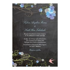 Blue Hibiscus Floral Birds Chalkboard Chic Wedding Custom Invitations