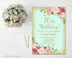 Floral Pink and Gold Birthday Invitation, personalized with your party details. This is a Digital Product, no physical item will be shipped to you! Invitation size is or high resolution dpi) JPEG or PDF file. HOW THIS WORKS: Please, when ordering, choose 90th Birthday Invitations, 65th Birthday, Birthday Woman, Shower Invitations, Women Birthday, Gold Birthday, Birthday Ideas, Surprise Birthday, Husband Birthday