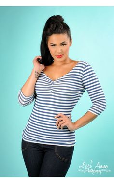 WANT!!!! Terri Top Knit Blue Stripe