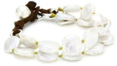 """Catherine Canino Sterling Silver and Freshwater Pearl Coin 2-Strand Link Bracelet, 7.5"""" Catherine Canino. $112.50. Items containing natural stones may have slight variances in size, shape and color. Made in China"""