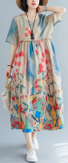 Plus size women's summer dress printed skirt dress Best Summer Dresses, Summer Dress Outfits, Casual Summer Dresses, Casual Dresses For Women, Wedding Dress, Comfortable Fashion, Printed Skirts, Women's Fashion Dresses, Plus Size Women