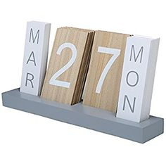 Wood Block Perpetual Month, Date Day Tile Calendar Desktop Accessories - Today Pin Desktop Calendar, Diy Calendar, Desk Calendars, Calendar Design, Desktop Accessories, Office Accessories, Date, Block Calendar, Wooden Calendar
