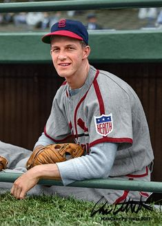 21 year old Stan Musial . 3630 hits 3 MVPs and a lifetime batting average of . he had 20 hits when this picture was taken. Mlb Uniforms, Baseball Uniforms, Baseball Jerseys, Baseball Wall, Baseball Posters, Pro Baseball, Baseball Equipment, Baseball Cards, American Baseball League