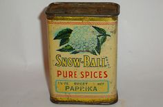 Nice Old Tin Snow Ball Paprika Advertising Spice Tin   eBay