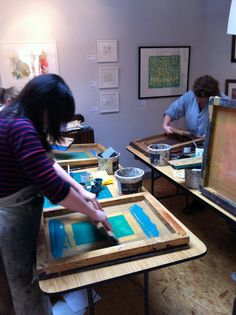 A screen printing workshop at INC