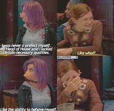 Harry Potter and the Order of the Phoenix Book Tonks and Ginny Harry Potter Puns, Harry Potter Characters, Harry Potter Universal, Harry Potter World, Tonks Harry Potter, Slytherin, Hogwarts, Fandoms Unite, Gina Weasley