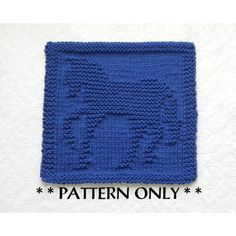 """Horse Knit dishcloth pattern by Aunt Susan's Closet. Afghan square 8.5"""" x 8""""."""
