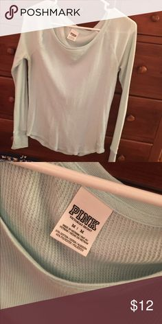 PINK tee Perfect condition from a smoke free home. Has a waffle like texture. Very cute. Worn once. Could comfortably fit a small as well😊 light mint green color PINK Victoria's Secret Tops Tees - Long Sleeve