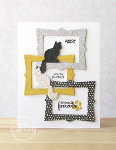 Card by PS DT Emily Leiphart using PS Fancy Frames stamps/dies, Feline Friends stamps/dies, Dog Icons dies
