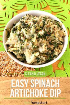 This easy spinach artichoke dip is tasty, fiber rich and amazing creamy. Click through! #spinachdip #artichokedip #vegan dip