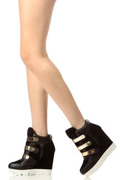 Black Faux Leather Lug Sole Sneaker Wedges @ Cicihot Women Sneakers-Fashion Sneakers,Casual Sneakers,Wedge Sneakers,Platform Sneakers,Hidden Wedge Sneakers,High Top Sneakers,Lace Up Sneakers,Studded Sneakers,Buckle Sneakers