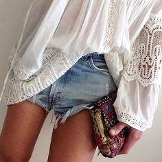 White + denim #bohomorning #vintage