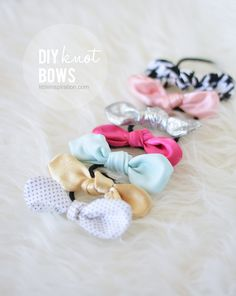 knot bows that attach to a clip, hair tie or elastic for your little ones. They are super easy to make and they look adorable on little girls. Diy Gifts For Kids, Diy For Girls, Fabric Bows, Fabric Flowers, Fabric Scraps, Scrap Fabric, Sewing Crafts, Sewing Projects, Do It Yourself Inspiration
