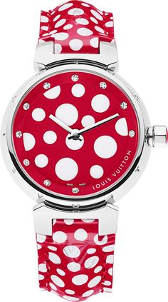 Something fun to wear!     Red and white polka dotted diamond encrusted Tambour watch ~ Louis Vuitton with Yayoi Kusama