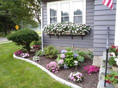 Front Yard Garden Design Cheerful Floral Border and Window Boxes-- Need these on the dining room windows and Kitchen - Gorgeous front garden and landscaping ideas that help highlight the beauty and architectural features your house. See the best designs! Backyard, Front Yard Landscaping Design, Landscaping With Rocks, Backyard Garden, Garden Design, Urban Garden, Yard Design, Beautiful Flowers Garden, Small Front Yard Landscaping