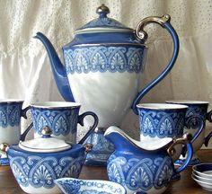 Vintage Coffee Service Porcelain with blue and Platinum trim