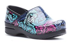 Colorful and bold pattern on the Dansko Professional clogs! Filigree Patent