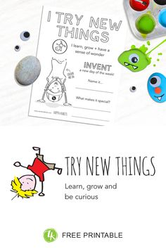 How to introduce kids to the happy habit of Trying New Things Coloring Sheets, Colouring, Take Risks, Inspiration For Kids, Self Esteem, Problem Solving, Kids Learning, Mistakes, Homeschooling